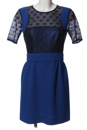 Sandro Cocktailkleid blau-schwarz Blumenmuster Business-Look