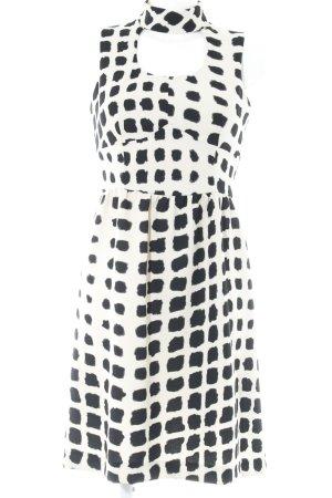 Sandro Ferrone A-Linien Kleid creme-schwarz Punktemuster Casual-Look