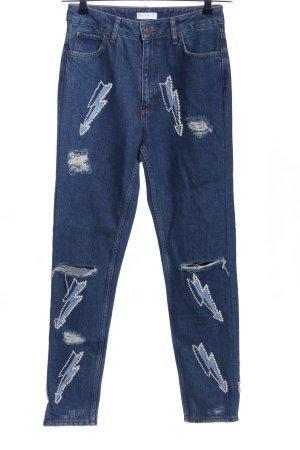 Sandro High Waist Jeans blau Motivdruck Casual-Look