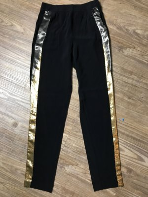 Sandro Low-Rise Trousers black-gold-colored cotton