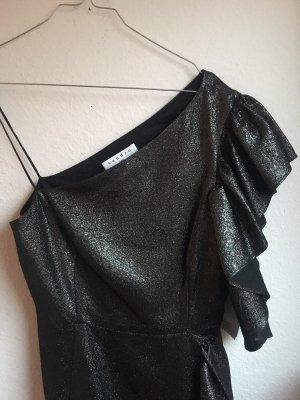 Sandro Vestido de un hombro negro-color plata