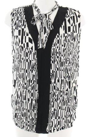 Sandro Kurzarm-Bluse weiß-schwarz abstraktes Muster Business-Look