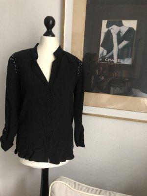 Sandro Blusa in seta nero-blu scuro