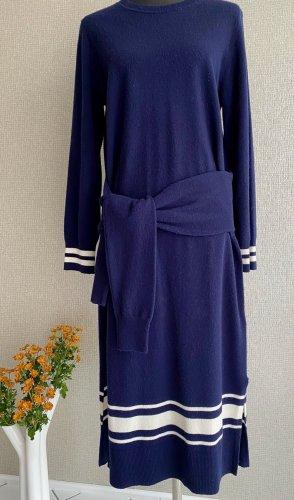 Sandro Paris Robe mi-longue bleu foncé-blanc laine