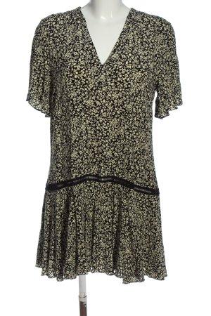 Sandro Paris A-Linien Kleid schwarz-creme Allover-Druck Casual-Look