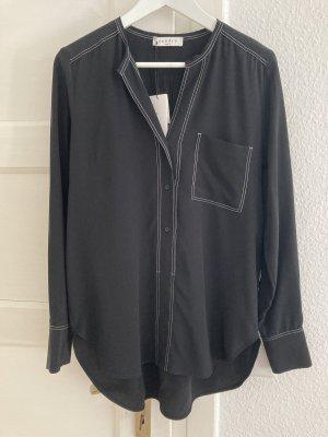 Sandro Paris Bluse Hemd Tunika Seide schwarz weiße Nähte 38 Neu