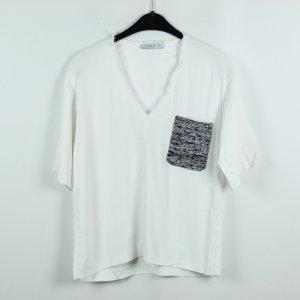 SANDRO Paris Blusenshirt Gr. 2 (S) weiß aufgesetzte Tasche (19/10/061)