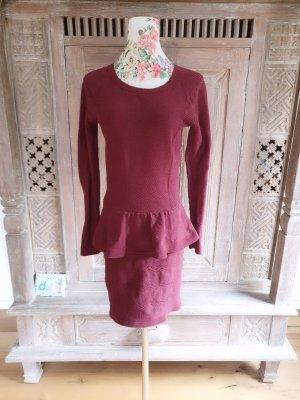Sandro Paris Sukienka z baskinką głęboka czerwień