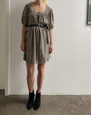 Sandro Paris Kleid Seidenkleid Seide grau weiß Tunikakleid