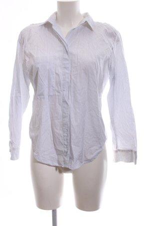 Sandro Paris Langarm-Bluse weiß-stahlblau Streifenmuster schlichter Stil