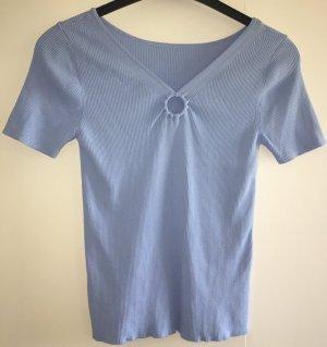 Sandro Paris Camisa acanalada azul celeste