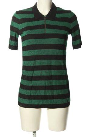 Sandro Paris Ringelshirt grün-schwarz Streifenmuster Casual-Look