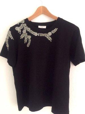 Sandro Paris - schwarzes T-Shirt mit Strass Applikationen Gr. M