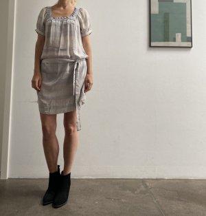 Sandro Paris Seidenkleid Kleid Seide hellblau weiß