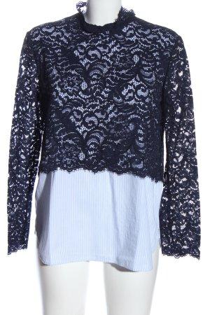 Sandro Paris Koronkowa bluzka niebieski-biały Abstrakcyjny wzór W stylu casual