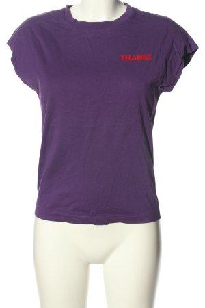 Sandro Paris T-Shirt lila-rot Schriftzug gedruckt Casual-Look
