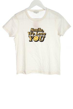 Sandro Print-Shirt weiß-blassgelb Schriftzug gedruckt Casual-Look