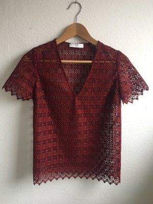 Sandro Crochet Shirt bordeaux
