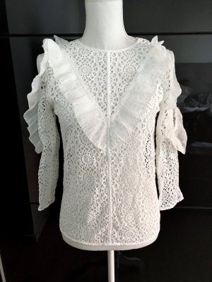 ❤️ Sandro Spitzenbluse Gr. 34 XS Bluse Weiß Spitze ❤️