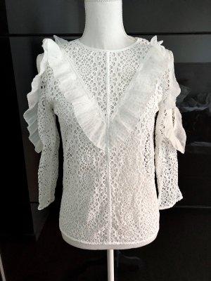 Sandro Koronkowa bluzka biały