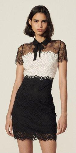 Sandro Mini vestido negro-blanco