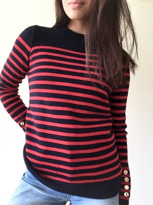Sandro Wool Sweater dark red-dark blue mixture fibre