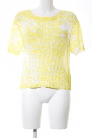 Sandro T-Shirt weiß-blassgelb abstraktes Muster Casual-Look