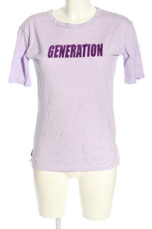 Sandro T-Shirt lila Schriftzug gedruckt Casual-Look