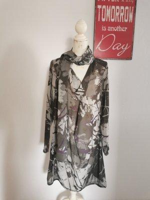 Sandwich Damen Chiffon Kleid Midikleid Langarm mit Halstuch grau lila Größe 42
