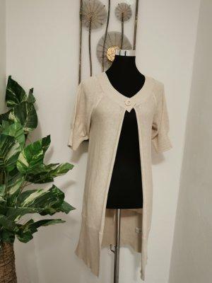 Sandwich Short Sleeve Knitted Jacket cream-oatmeal cotton