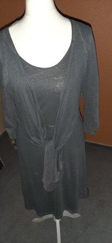 Sandwich, Kleid, stahlgrau, mit halbem Arm, knielang, Gr L