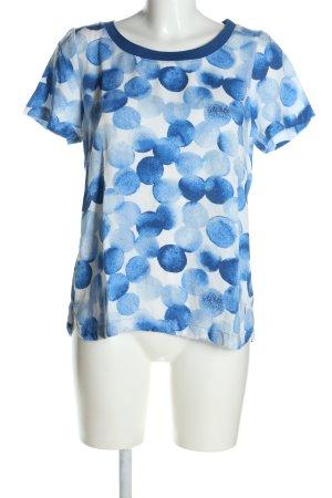 Sandwich Print-Shirt blau-weiß Allover-Druck Casual-Look