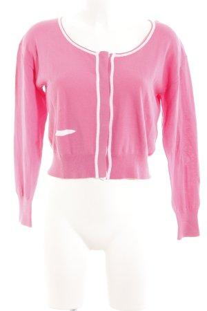 Sandwich Strickjacke pink-weiß Casual-Look