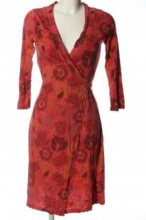 Sandwich Kopertowa sukienka czerwony Wzór w kwiaty W stylu casual