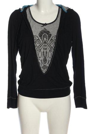 Sani Blu Koszulka z kapturem czarny-jasnoszary Łączone wzory W stylu casual
