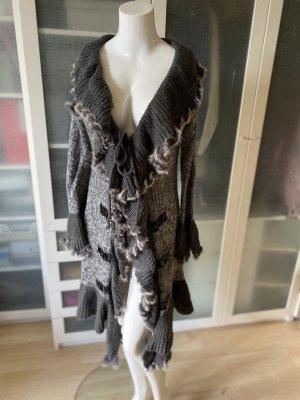 Płaszcz z dzianiny czarny-ciemnoszary