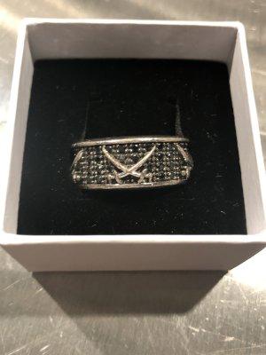 Sansibar Statement ring zwart-zilver