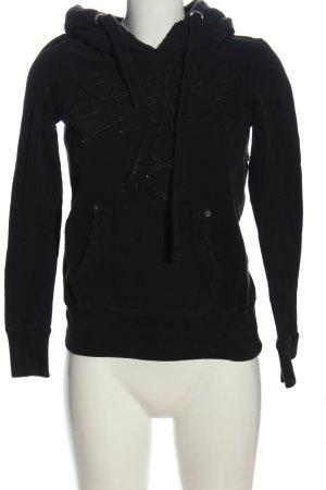 Sansibar Sudadera con capucha negro letras impresas look casual