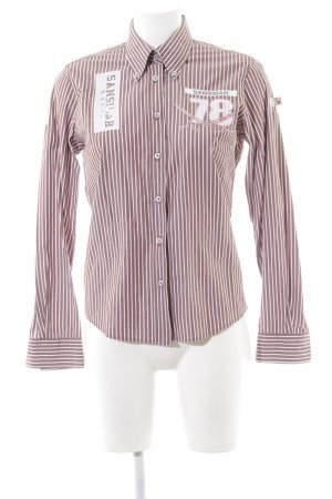 Sansibar Langarmhemd braun-weiß Schriftzug gedruckt Casual-Look