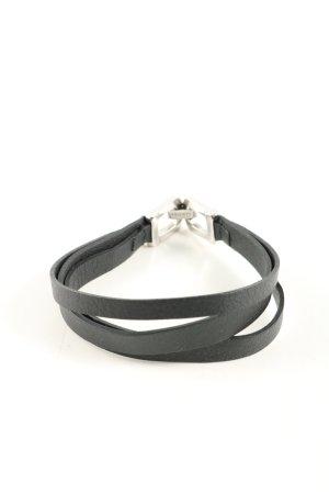 Sansibar Leather Bracelet black-silver-colored casual look