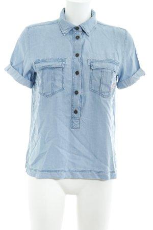 Sansibar sylt Hemd-Bluse himmelblau Logo-Applikation aus Metall