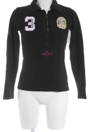 Sansibar sylt Longshirt schwarz Schriftzug gestickt College-Look