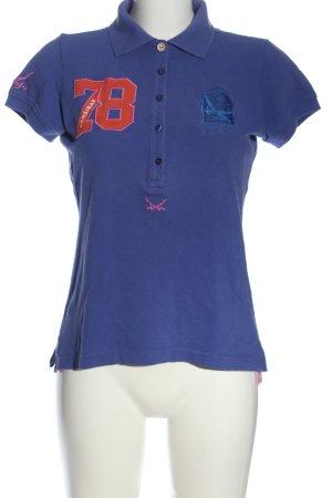 Sansibar sylt Polo-Shirt blau-rot Schriftzug gedruckt Casual-Look