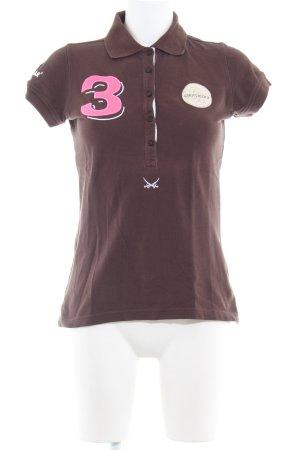 Sansibar sylt Polo-Shirt dunkelbraun Schriftzug gestickt sportlicher Stil