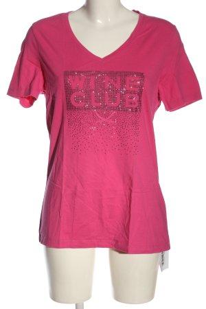 Sansibar T-Shirt pink-silberfarben Schriftzug gedruckt Casual-Look