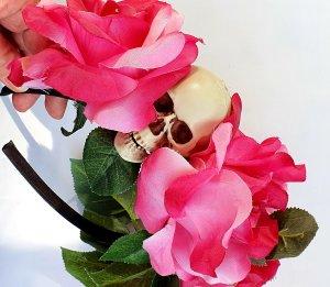 Santa Muerte Halloween Rosen Totenkopf Flowercrown Handmade