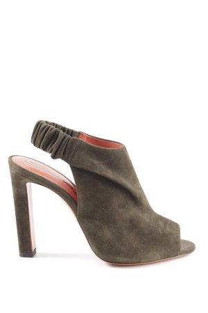 Santoni High Heel Sandaletten dunkelgrün-dunkelorange Elegant