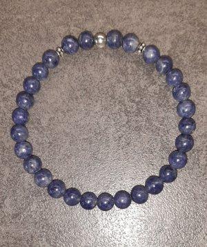 Collier de perles bleu foncé-bleu acier