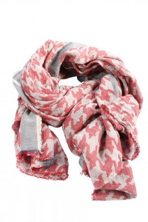 Sara Martignoni Pañoleta gris claro-rojo estampado con diseño abstracto