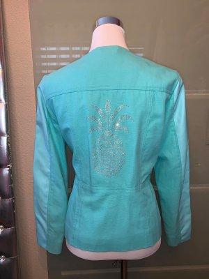Sarah Kern Jacke Leinen Leder in gr 40 Farbe Türkis mit i Kristallen besetzt